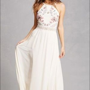 Soie Blu floral embroidered maxi dress
